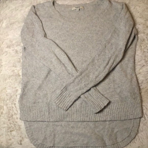 Madewell high low knit oversized sweater grey